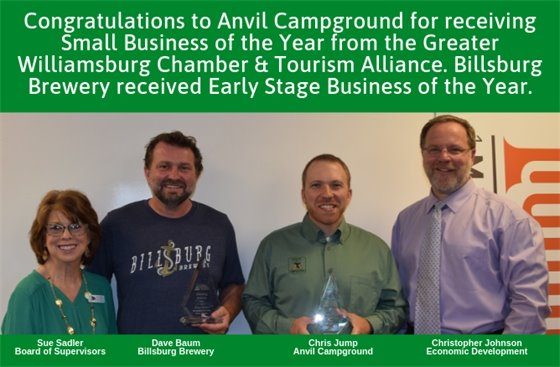 Anvil Campground is the Greater Williamsburg Chamber & Tourism Alliance Business of the Year.