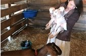 Maureen Anderson with goats