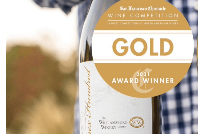 Williamsburg Winery bottle with gold medal